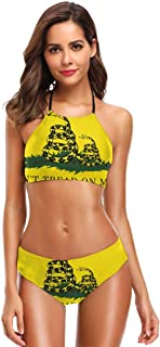 Women's High Neck Don't Tread On Me Or My Son Ever Again Snake Print Two Piece Swimsuit Halter Bikini Bathing