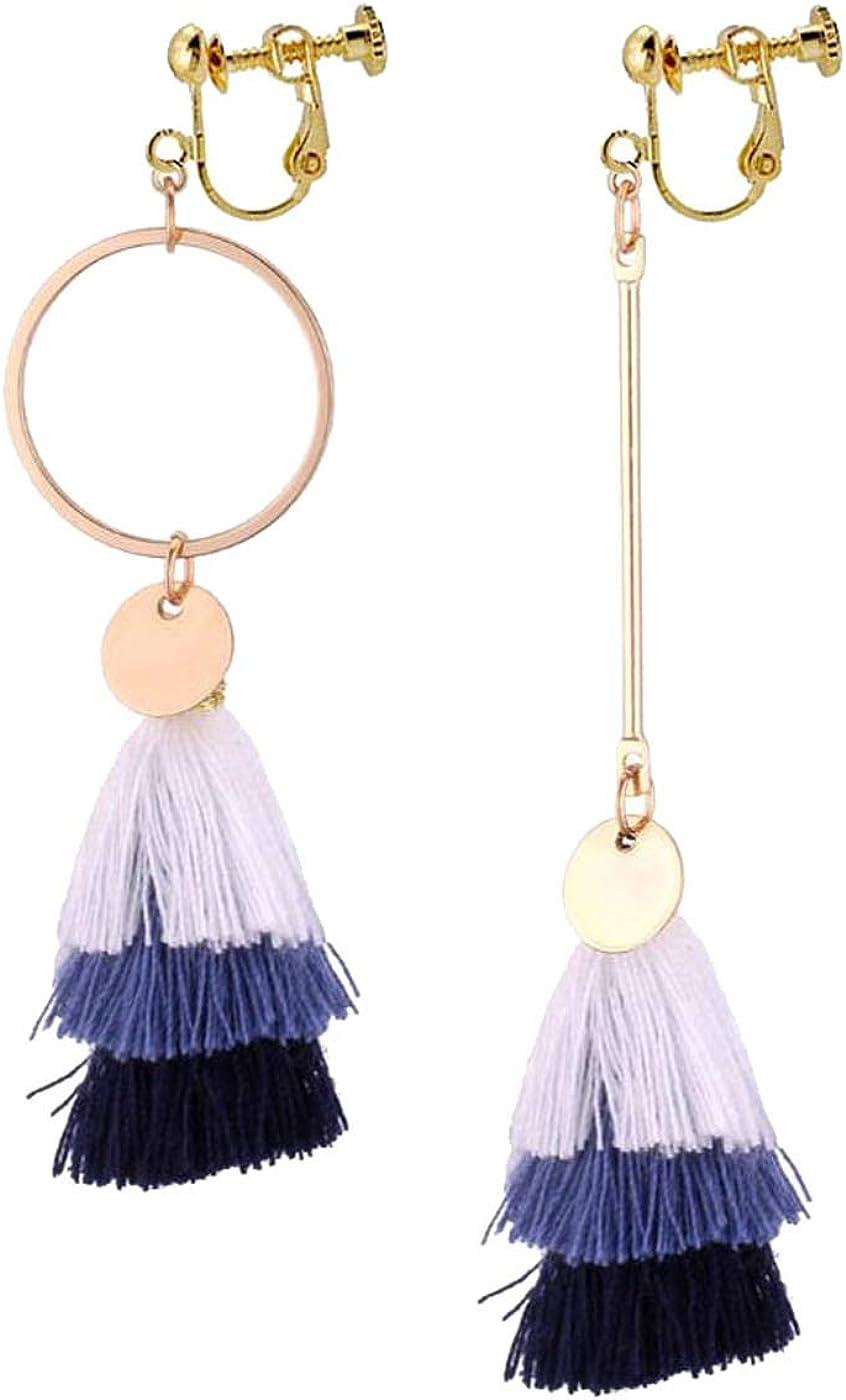 Retro Clip on Earrings Bohemian Earrings for Women Girls 3 Layered Dangle Drop Irregular Silk Thread Tassel Vintage Statement