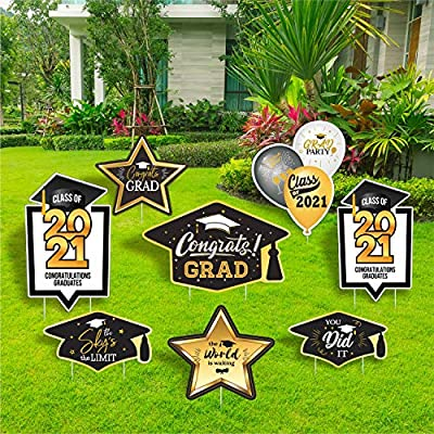 TOP4EVER 2021 Congrats Grad Party Decorations Grad Party Yard Sign and Outdoor Lawn Decorations for 2021 Graduation Party-Set of 8