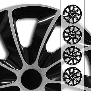 Eight Tec Handelsagentur (Farbe & Größe wählbar) 16 Zoll Radkappen, Radzierblenden Quad Bicolor (Schwarz/Silber) passend für Fast alle Fahrzeugtypen (universal)