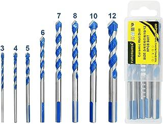 8 PCS Masonry Drill Bit Set Tungsten Carbide Tipped Ceramic Tile Drill Bits Twist Drill for Concrete Brick Glass Plastic a...