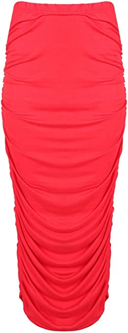 New Womens Ladies Stretchy Front Ruched Pencil Gathered Bodycon Long Maxi Skirt