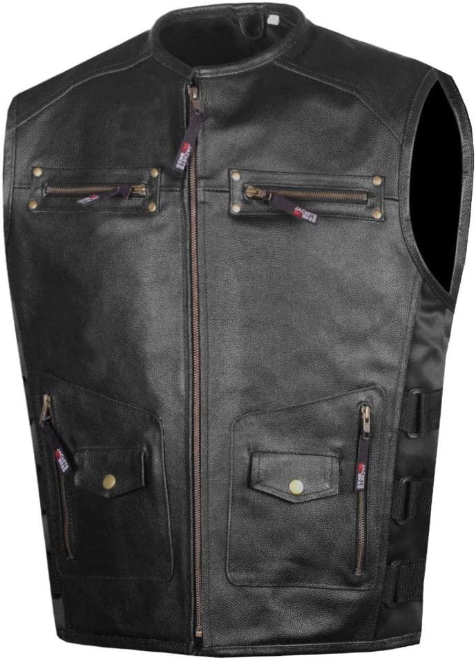Men's Armor Motorcycle Biker Vest Philadelphia Mall Conceal Selling rankings Leather Cowhide Carry