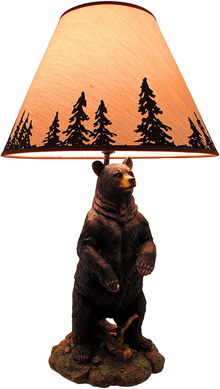 Standing Grizzly Bear Table Lamp w Silhouette Shade