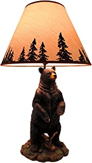 Standing Grizzly Bear Table Lamp w/Silhouette Shade