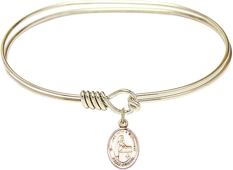 DiamondJewelryNY Eye Hook Bangle Bracelet with a Blessed Emilee Doultremont Charm.