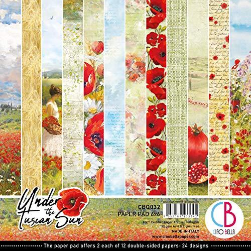 Ciao Bella Papers CBQ032 Under The Tuscan Sun - Bloc de papel (15,24 x 15,24 cm)