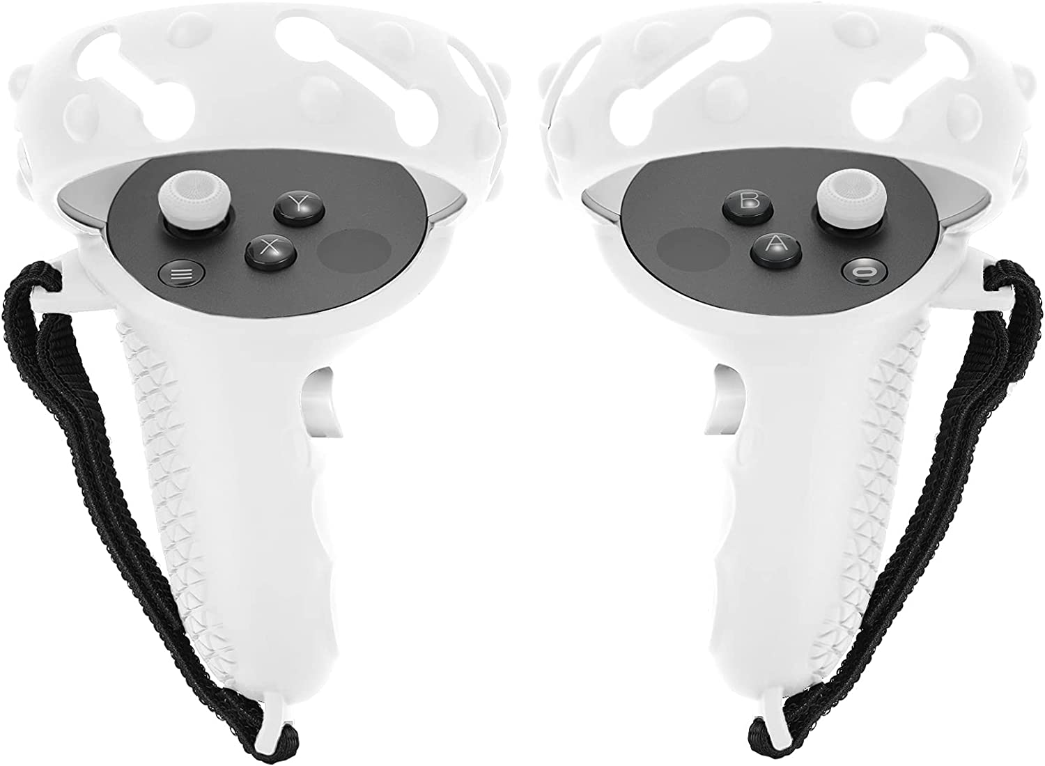 Touch Controller Grip Cover for Oculus Quest 2 VR Protective Sleeve Shell with Dumbbell Shape Holes No Signal Block Anti-Slip Full Silicone Halo Strap Handle Ring Protector with Thick Bulges (White)