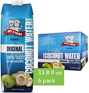 Amy & Brian Pure Coconut Water, 1 Liter (Pack of 6) | Best Tasting Coconut Water | Non-GMO & No Added Sugar | Refreshing &...