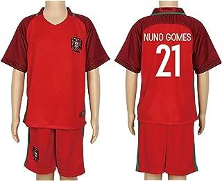 2016 UEFA Euro #21 Nuno Gomes Red Home Kids Soccer Jersey & Short Kit Set
