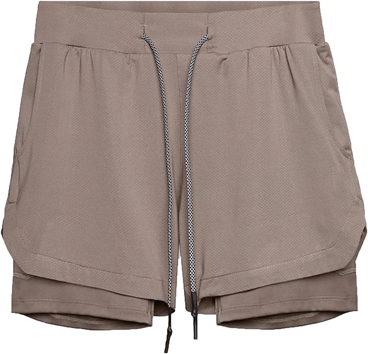 ZCAITIANYA Men's Shorts Casual Quick Dry Slim Fit Double Layer with Lining Drawstring Summer Solid Elastic Waist with Pockets
