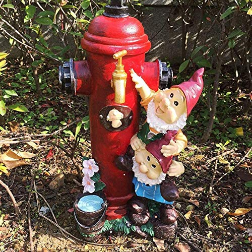 Fire Hydrant Garden Statue,Outdoor Lawn Decor Sculptures,Puppy Pee Post Dog Training Post,Dwarfs Gnomes Fire Hydrant Tap Figurines Patio Yard Decoration ( Color : A , Size : 47x28x18cm(19x11x7inch) )