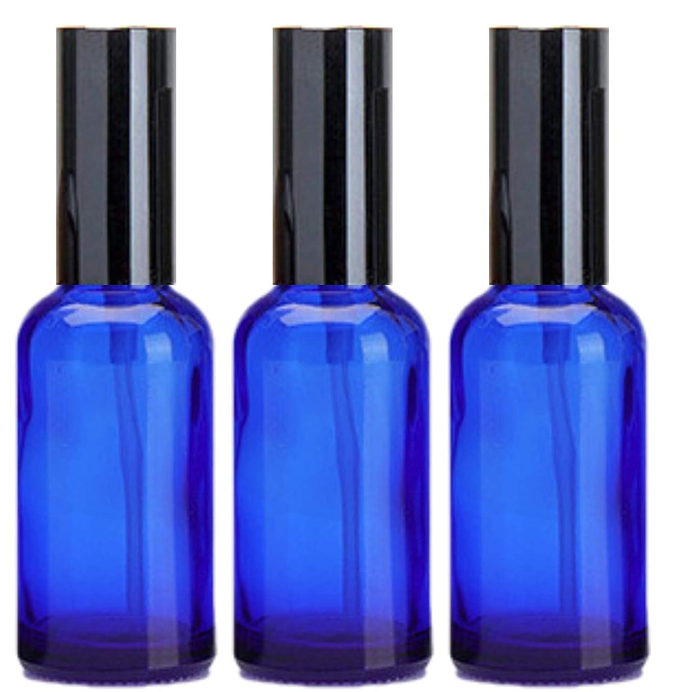 勃起抜け目がない寄託乳液 ボトル 3本セット クリーム容器 アロマクリーム ハンドクリーム 遮光瓶 ガラス 瓶 アロマ ボトル ビン 保存 詰替え 青色 ブルー (30m?3本)