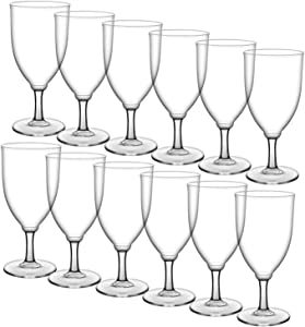 HyHousing 7 Oz Clear Plastic Wine Glasses 12 Pack, Hard Disposable Plastic Drink Glasses Ideal for Home Daily Life Party Wedding Toasting Drinking Wine (G2-12)