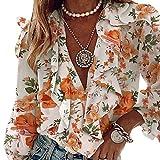 Charmlinda Camisa casual con cuello en V y volantes para mujer, manga larga, botones sueltos, blusa de gasa floral, naranja, S