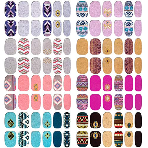 8 Sheets Nail Polish Stickers Nail Wraps Glitter Nail Art Polish Strips Full Nail Stickers Color Street Nails Strips Self Adhesive Decals Nail Design Manicure Sticker Nail Strips for Women Girls