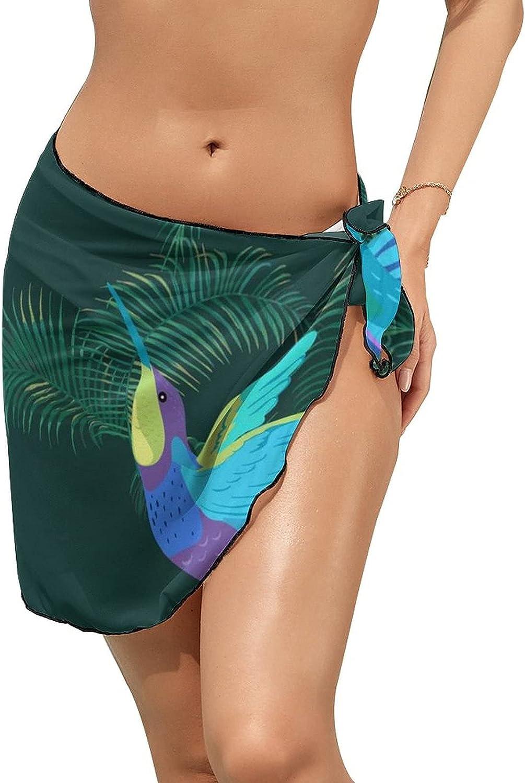 JINJUELS Women Beach Wrap Sarong Cover Up Purple Blue Hummingbird Sexy Short Sheer Bikini Wraps