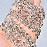 1 Yard Thin Rhinestone Crystal Sash Appliques Clear and Bling Stone Trims Addition for Wedding Dress Strap Prom Sashes Bridal Garter