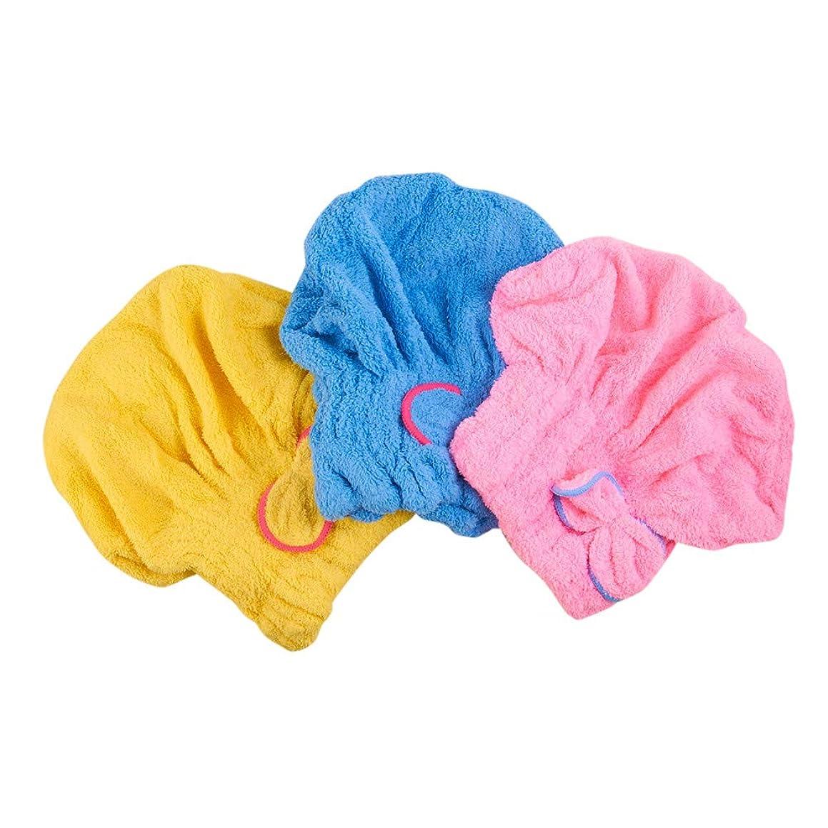 3 Pack Hair Drying Caps Towels, Ultra Absorbent Microfiber Drying Cap Bowknot Hair Towel Turban Hats Shower Tool