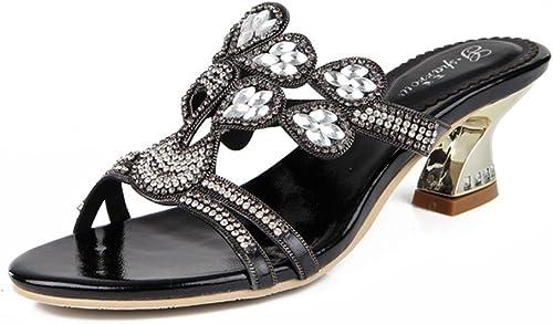 SASA Summer New Sandales à Strass à Talons Hauts Femmes européennes et américaines de Mode Sexy Diamant Rugueux avec Open Toe Chaussures élégantes pour Femmes