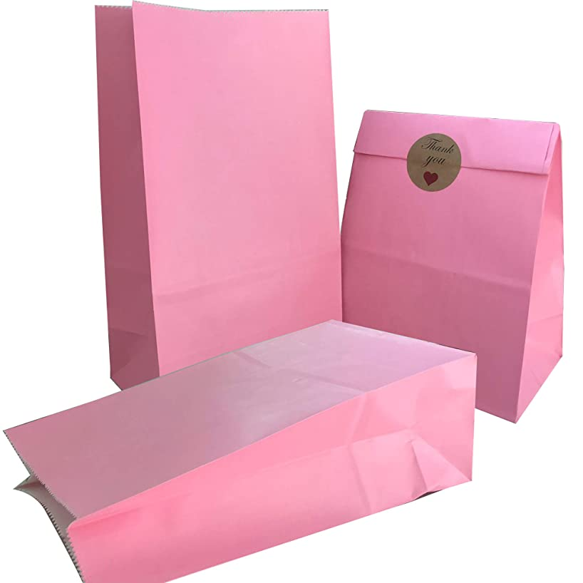 Party Bag 50 pcs Food Safe Kraft Paper and Ink, Natural (Biodegradable), Vivid Colored Candy Cookie Buffet Bags, Bottom Square Bag.Pink.with 48 pcs Thank You Stickers 1.5 inch.