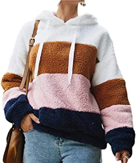 Womens Warm Sweatshirt with Hooded Loose Color Block Fleece Pullover Outwear