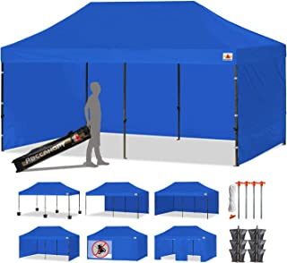 ABCCANOPY 18+ Colors Deluxe 10x20 Pop up Canopy Outdoor Party Tent Commercial Gazebo with Enclosure Walls and Wheeled Carry Bag Bonus 6X Weight Bag and 3X Half Wall (Blue)