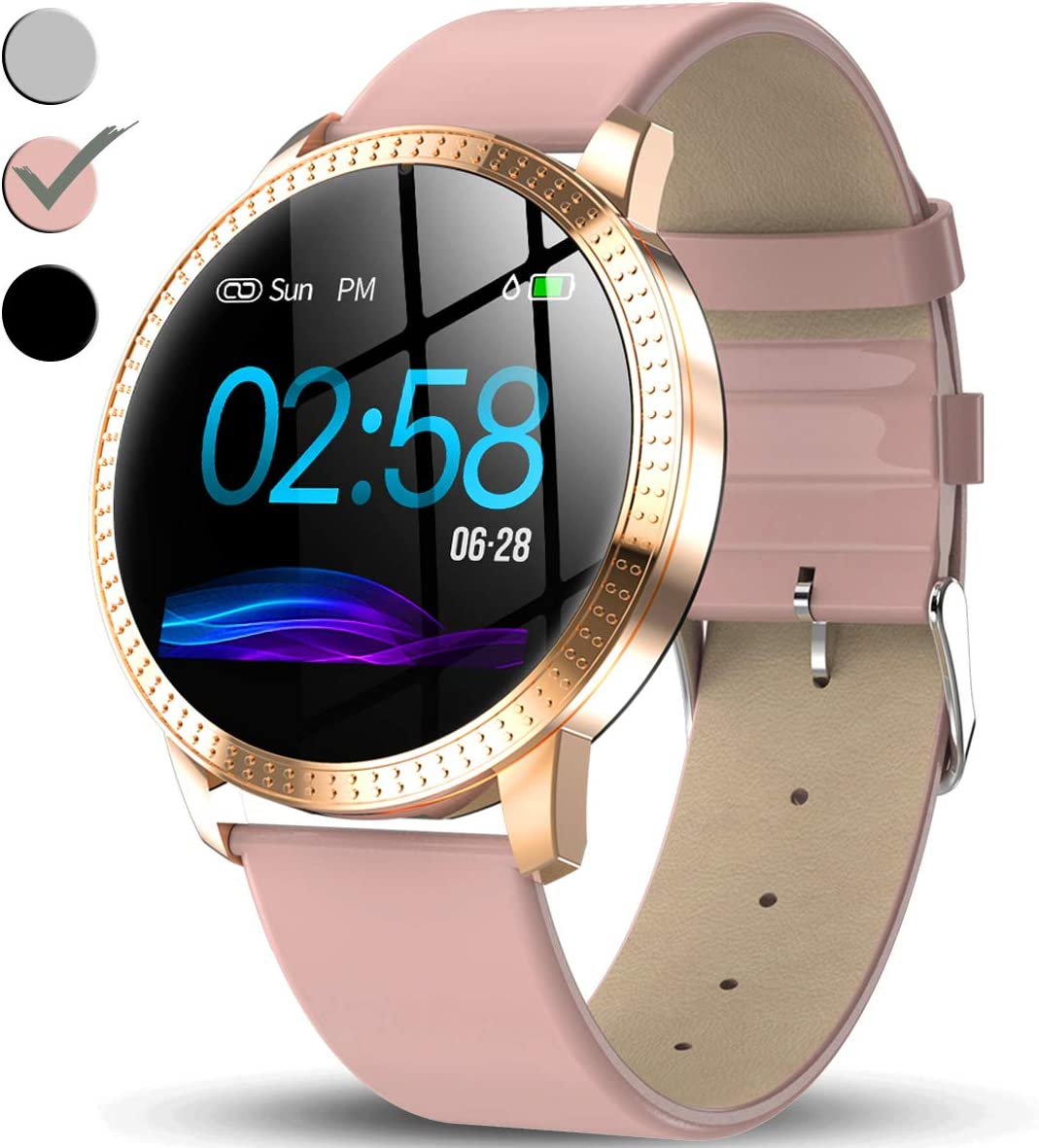 Amazon Com Turnmeon Women Hybrid Smart Watch Fitness Tracker Ip67 Waterproof Smartwatch For Android With Heart Rate Monitor Blood Pressure Monitor Sleep Female Menstrual Record Pedometer Calorie Counter