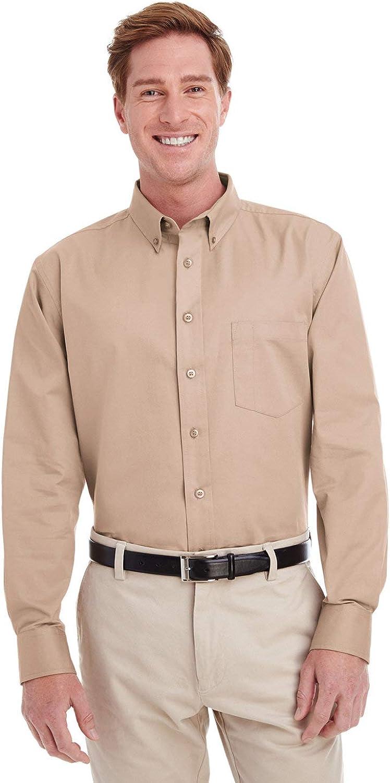 Harriton Foundation 100% Cotton Long-Sleeve Twill Shirt with Teflon (M581)
