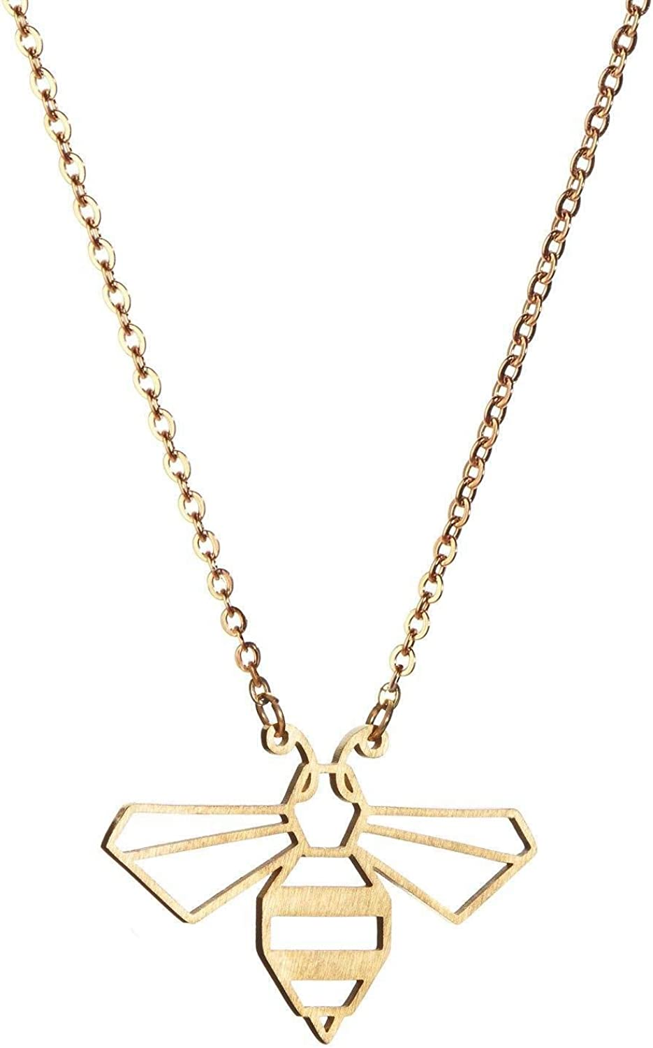 La Menagerie Bee Gold Origami Jewelry - Gold Geometric Chain Necklace – 18 Karat Plated Gold Necklace for Women & Girls – Stylish Bee Pendant Necklace