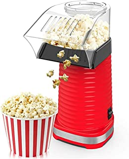 Popcorn Maker, 1200W Automatic Mini Hot Air Popcorn Making Machine with Measuring Cup and Removable Top Cover, Red