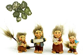 Miniature Troll Family, Set of Four Trolls and Faux Moss Rocks for Indoor DIY Fairy Garden Decor