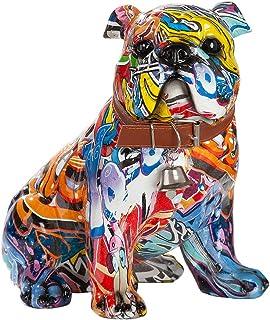 Sculpture Moderne décoration Figure Carlin Chien Pop Art en Pierre Artificielle Multicolore 22x23 cm