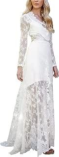 Kiss Rain Women's Deep V Neck Lace Wedding Dress with Long Sleeves