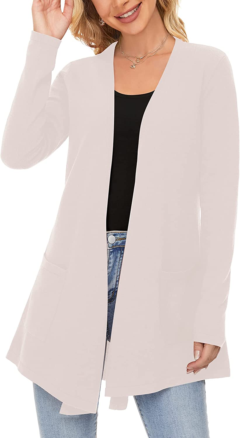 VALAV Womens Long Sleeve Open Front Cardigans Fine Knit Breathable Sweaters Irregular Hem Outwear with Pockets