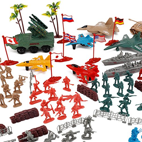 Liberty Imports Army Men Action Figures Soldier Bucket Playset with Scaled Tanks, Planes, Submarines, Flags & More!