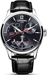 Mens Power Reserve Display Automatic-Self-Wind Watches Leather Band Luxury Waterproof Swiss Watches