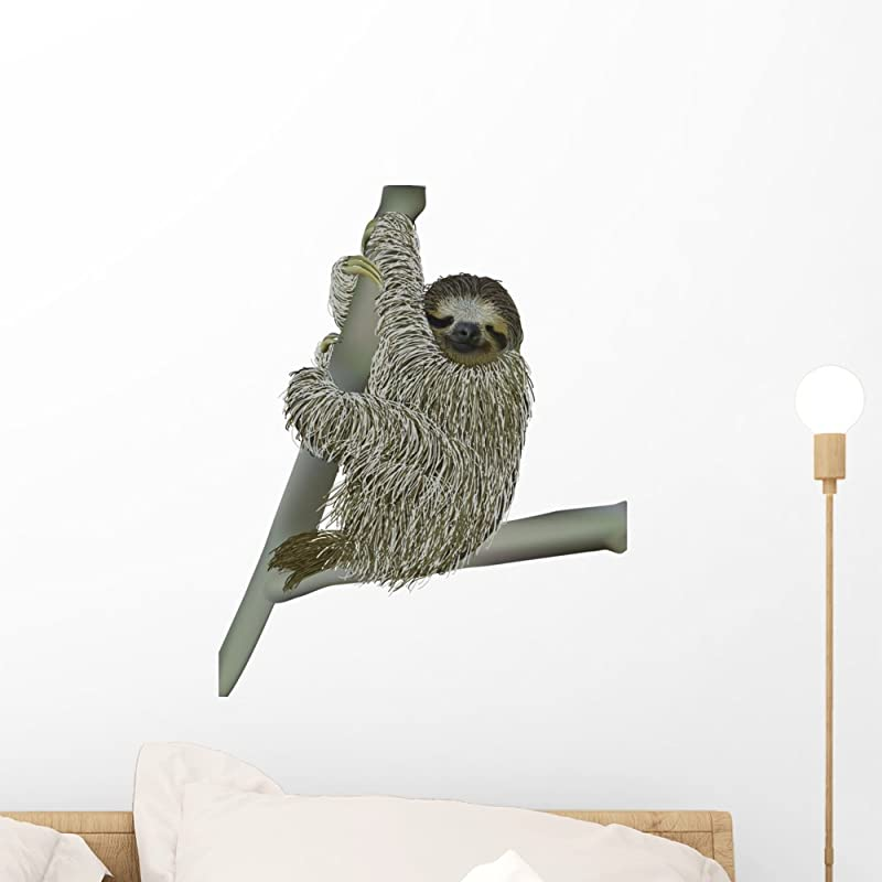 Wallmonkeys WM230890 Smiling Sloth Hanging On A Branch Peel And Stick Wall Decals 18 In H X 14 In W Small
