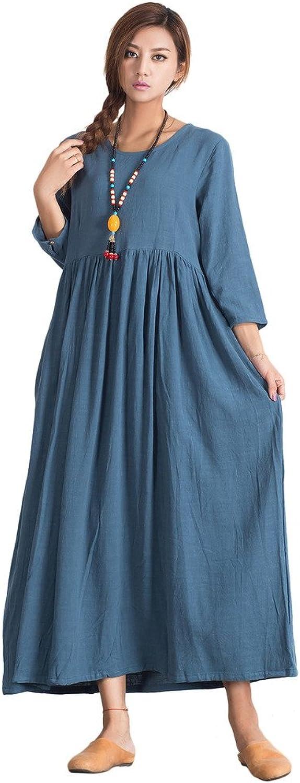Sellse Women's Linen Cotton Elegant Soft Maxi Dress Plus Size Clothing
