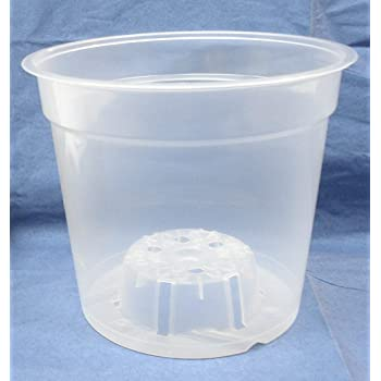 "6"" Inch Round Clear Plastic Orchid Pot - 5 Pack"