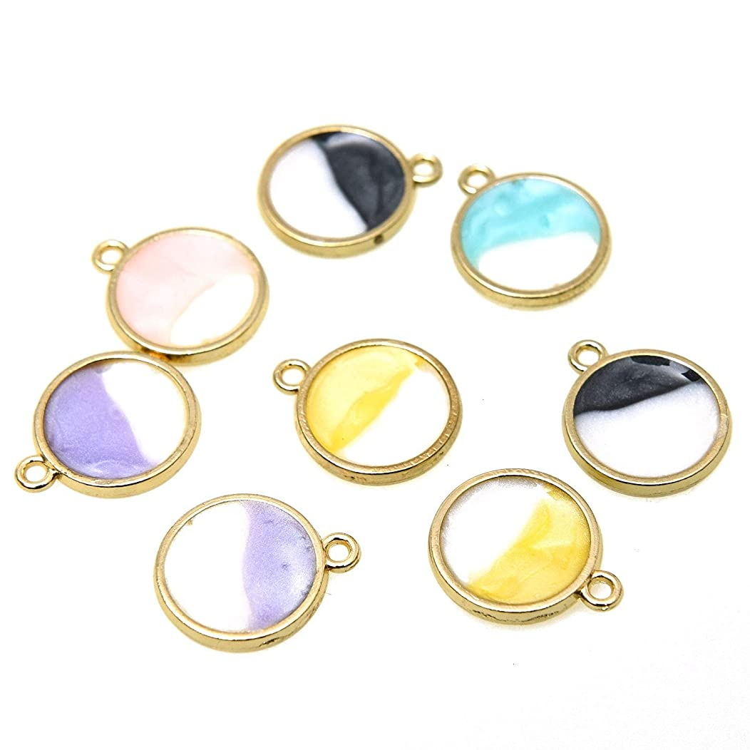 Monrocco 50 Pcs 5 Color Double-Sided Round Sun Enamel Charms Gold Plated Enamel Charms DIY Jewelry Making