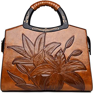 Coolives Damen Handtasche Klassische Blumenprägung Henkeltasche Holz Henkel Umhängetasche Schultertasche Braun EINWEG