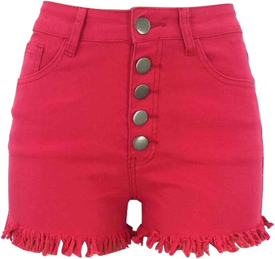 FSSE-Women High Waisted Skinny Stretch Summer Tassles Denim Shorts Jeans