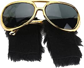 IPOTCH Rockstar Costume Glasses Gold Shades Sunglasses with Sideburns for Cosplay Costumes Halloween Christmas Dressing Up