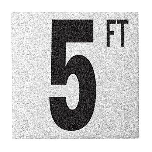Aquatic Custom Tile Ceramic Swimming Pool Deck Depth Marker 5 FT Abrasive Non-Slip Finish, 5 inch Font