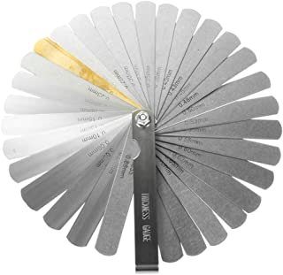 GARANTÍA DE POR VIDA✮-CZ Store®- Calibrador de grosor-juego de 32 calas de acero inoxidable 32 hojas|tamaño 90 MM|calas mecánicas con 2 unidad de medida (pulgadas y métricas) para motor/válvula/galgas