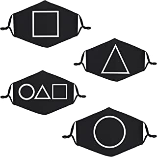 Squid Game Gace Mask,4-Pack Unisex Cloth Washable Reusable Face Cover , Cotton Inner Layer Comfortable & Breathable Black ...