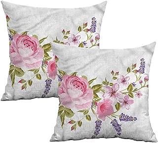 Khaki home Lavender Square Pillowcase Covers Garland of Rose Sakura Square Body Pillowcase Cushion Cases Pillowcases for Sofa Bedroom Car W 20