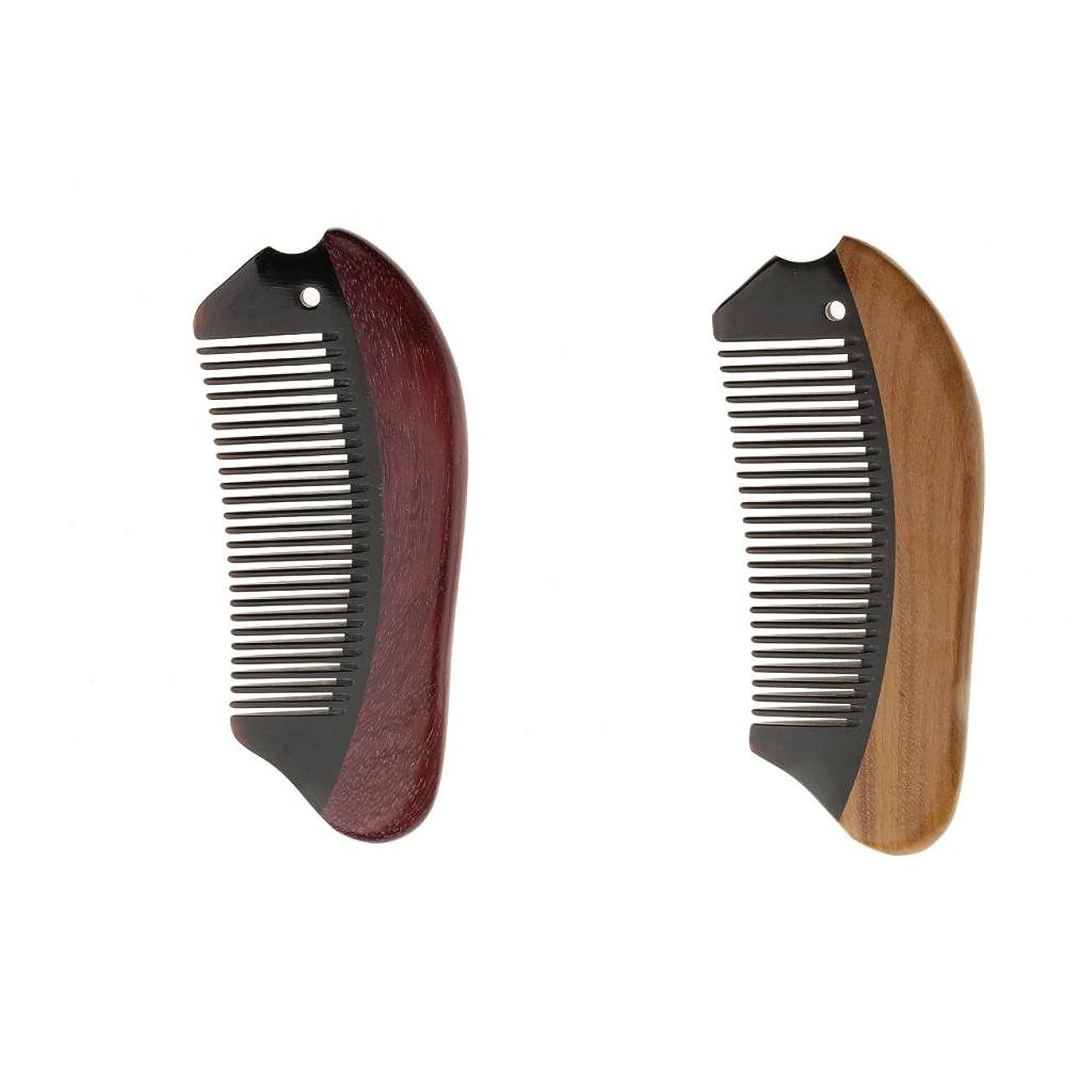 先祖紳士対応Perfk 2個 木製 櫛 コーム 静電気防止 ウッド マッサージ 高品質
