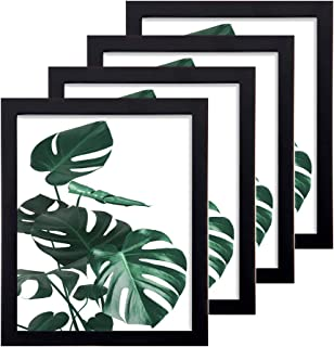 Loveinside 8x10 Frame Black 1.8 mm Thick Real Glass and Solid Wood Frame for Tabletop or Wall Decor Picture Frame, Set of 4